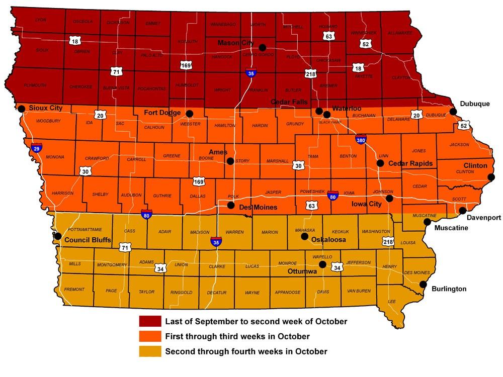 Iowa Fall Color - Fall foliage map us 2016