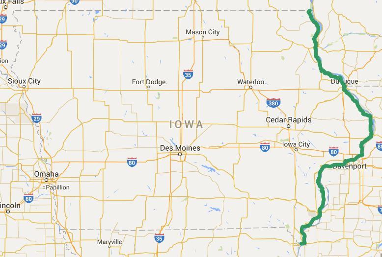 Great River Road National Scenic Byway Iowa Tourism Map Travel - Iowa river map