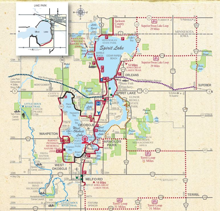 Iowa Great Lakes Trail Iowa Tourism Map Travel Guide Things To - State of iowa map