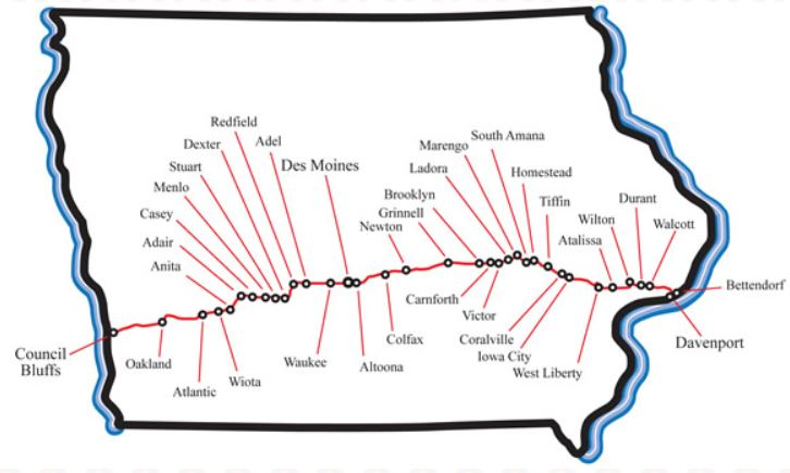 Historic US Route Iowa Tourism Map Travel Guide Things To - Iowa map of us