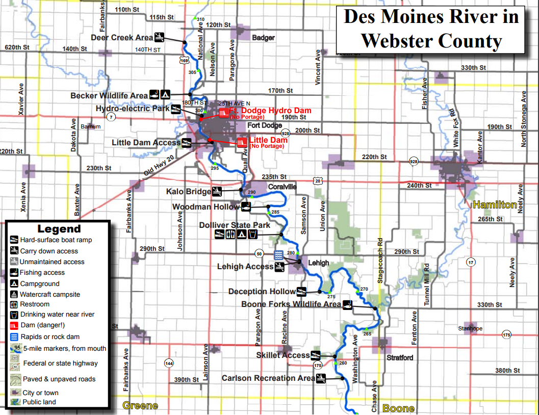 Des Moines River Water Trail: Iowa Tourism Map, Travel Guide, Things on