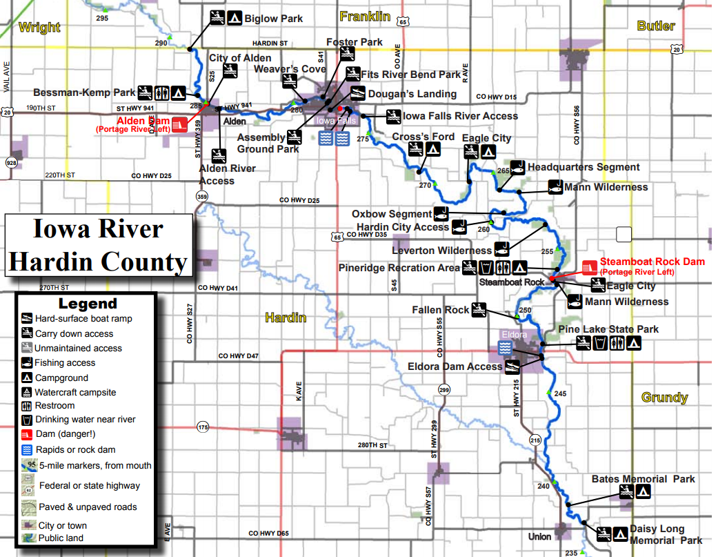 Iowa River Water Trail Hardin County Iowa Tourism Map Travel - Iowa river map