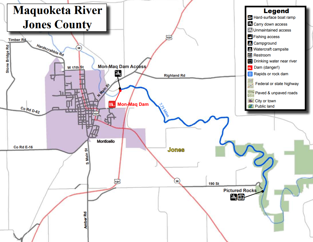 Maquoketa River Water Trail Iowa Tourism Map Travel Guide Things - Iowa-on-a-us-map