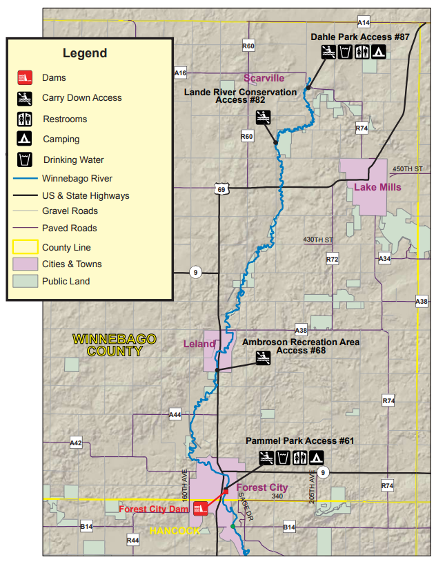 Winnebago River Water Trail Iowa Tourism Map Travel Guide Things - Iowa-on-a-us-map
