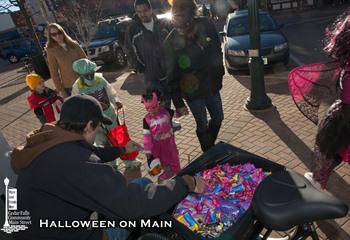 Trick or treating during Halloween on Main