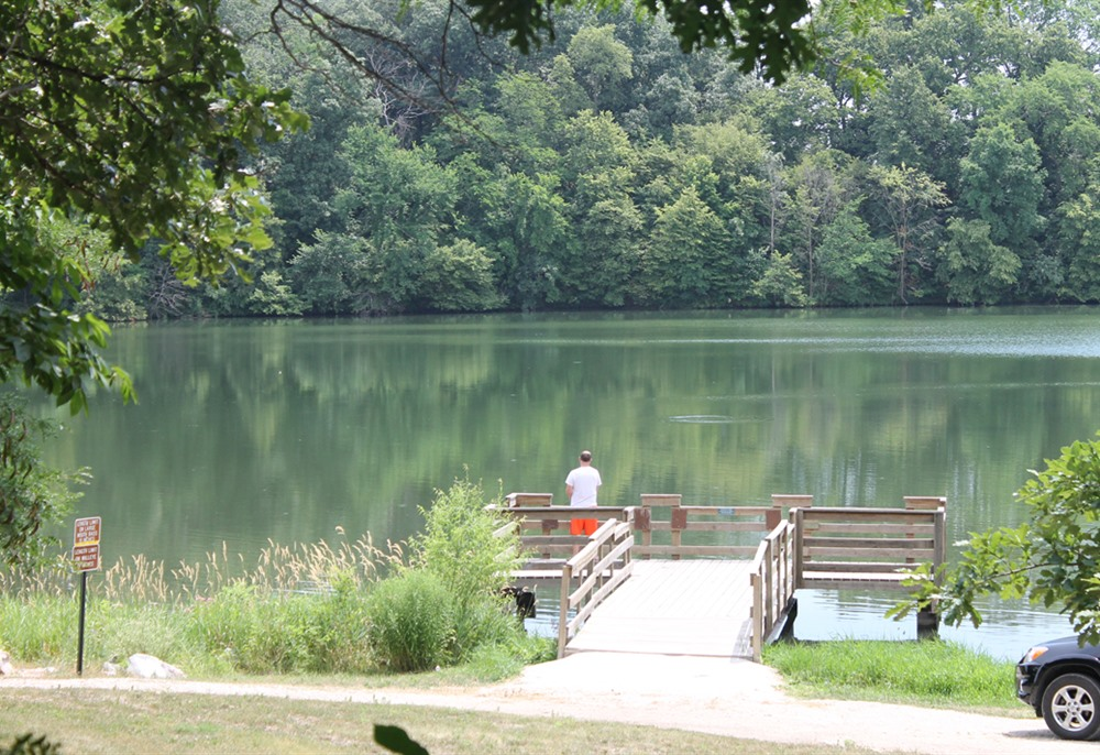 Fishing on Briggs Woods Park lake